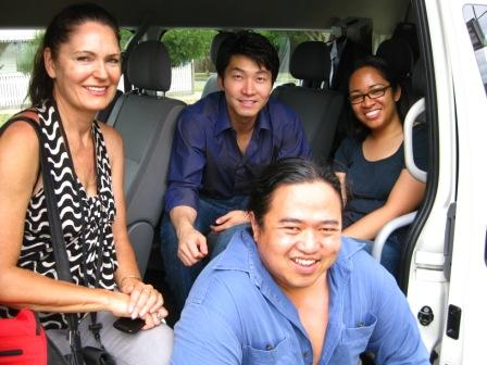 Our home away from home mini van - on right Camera assistant Farrah Azalea